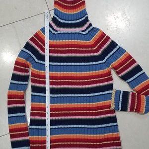 Striped Knit Turtleneck Sweater